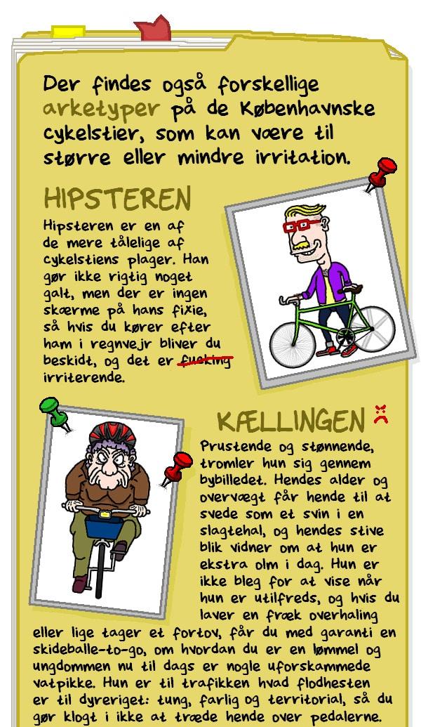 Der findes også forskellige arketyper på de københavnske cykelstier, som kan være til større eller mindre irritation. HIPSTEREN. KÆLLINGEN.