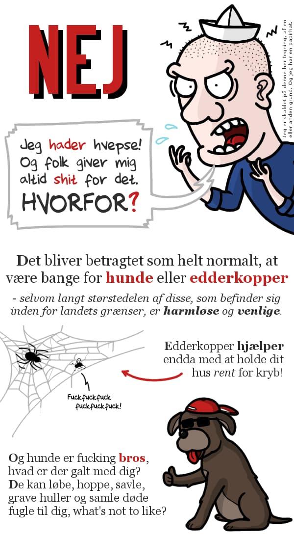 NEJ. Jeg hader hvepse. Og folk giver mig altid shit for det. Hvorfor? Det bliver betragtet som helt normalt, at være bange for hunde eller edderkopper.