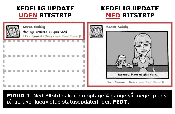 Kedelig update UDEN Bitstrip vs. Kedelig update MED Bitstrip. FIGUR 1. Med Bitstrips kan du optage 4 gange så meget plads på at lave ligegyldige statusopdateringer. FEDT.