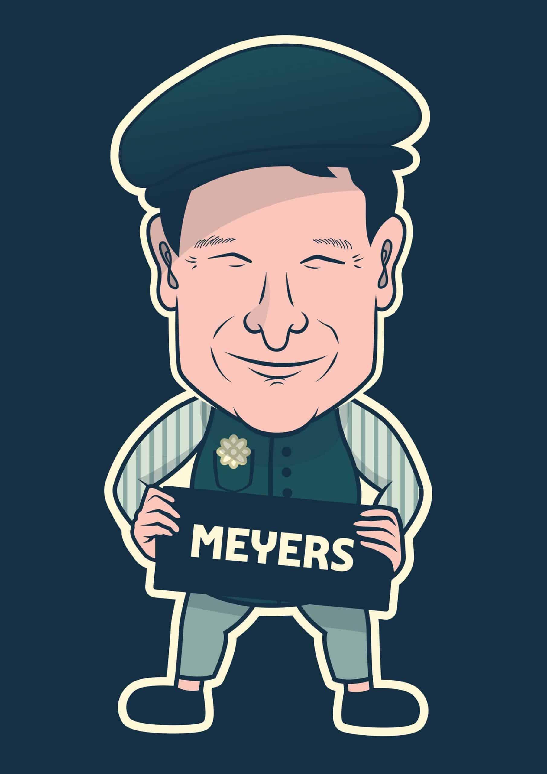 Meyers karikatur til illustrerede facadeskilte på Roskilde Festival