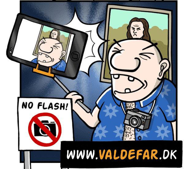Tager billeder med flash, hvor der står, at man ikke må tage billeder med flash