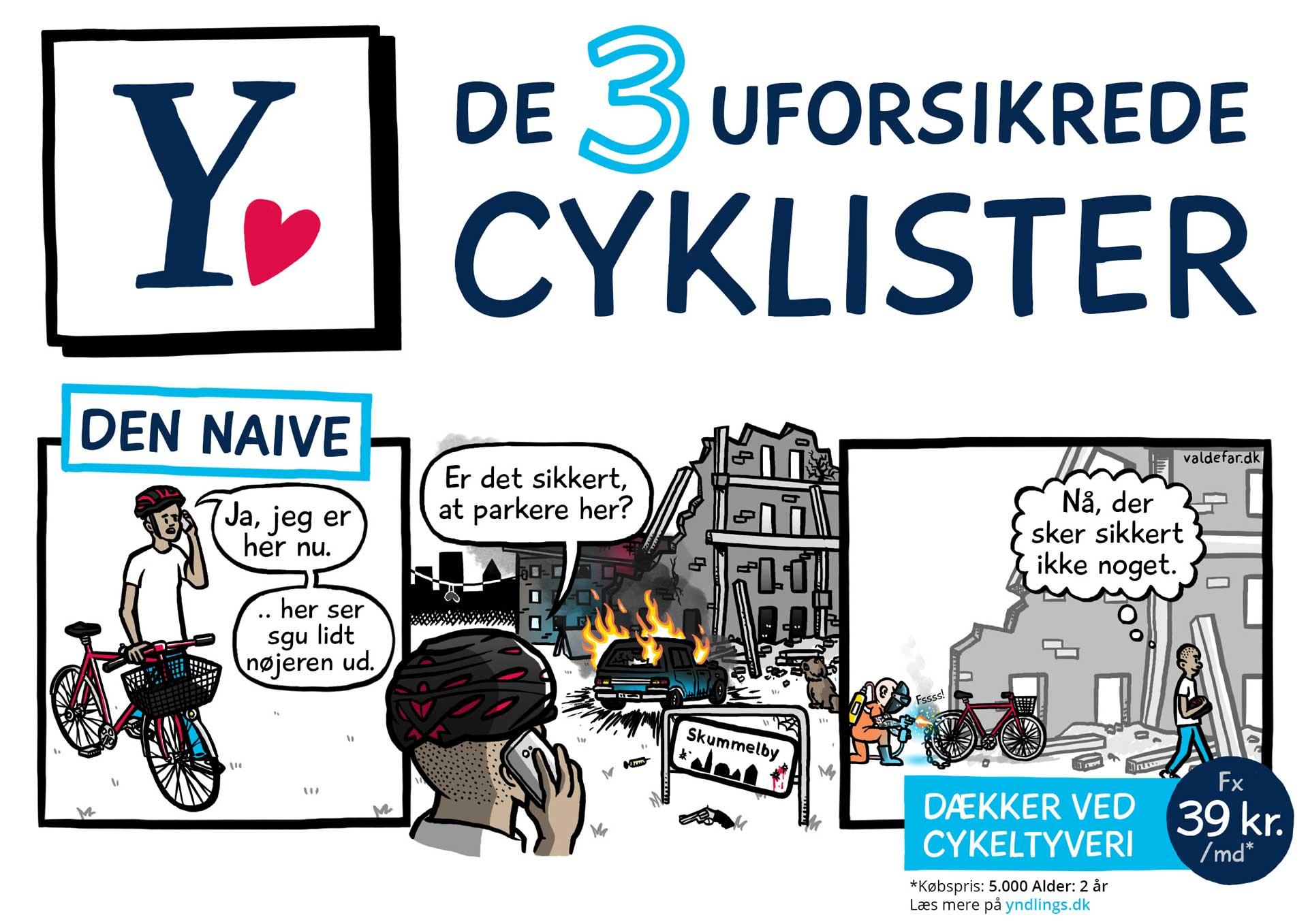 Tegneseriestriber for Alm Brand: De 3 uforsikrede cyklister / Den naive