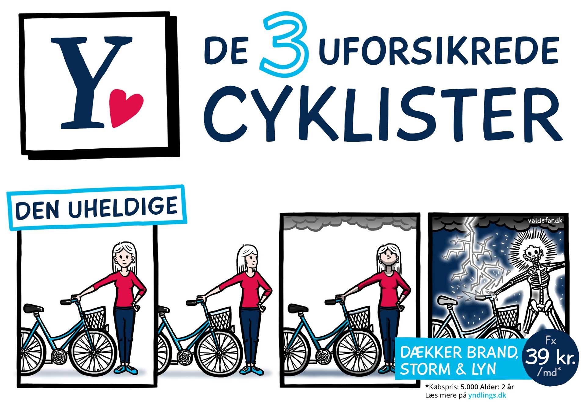 Tegneseriestriber for Alm Brand: De 3 uforsikrede cyklister / Den uheldige