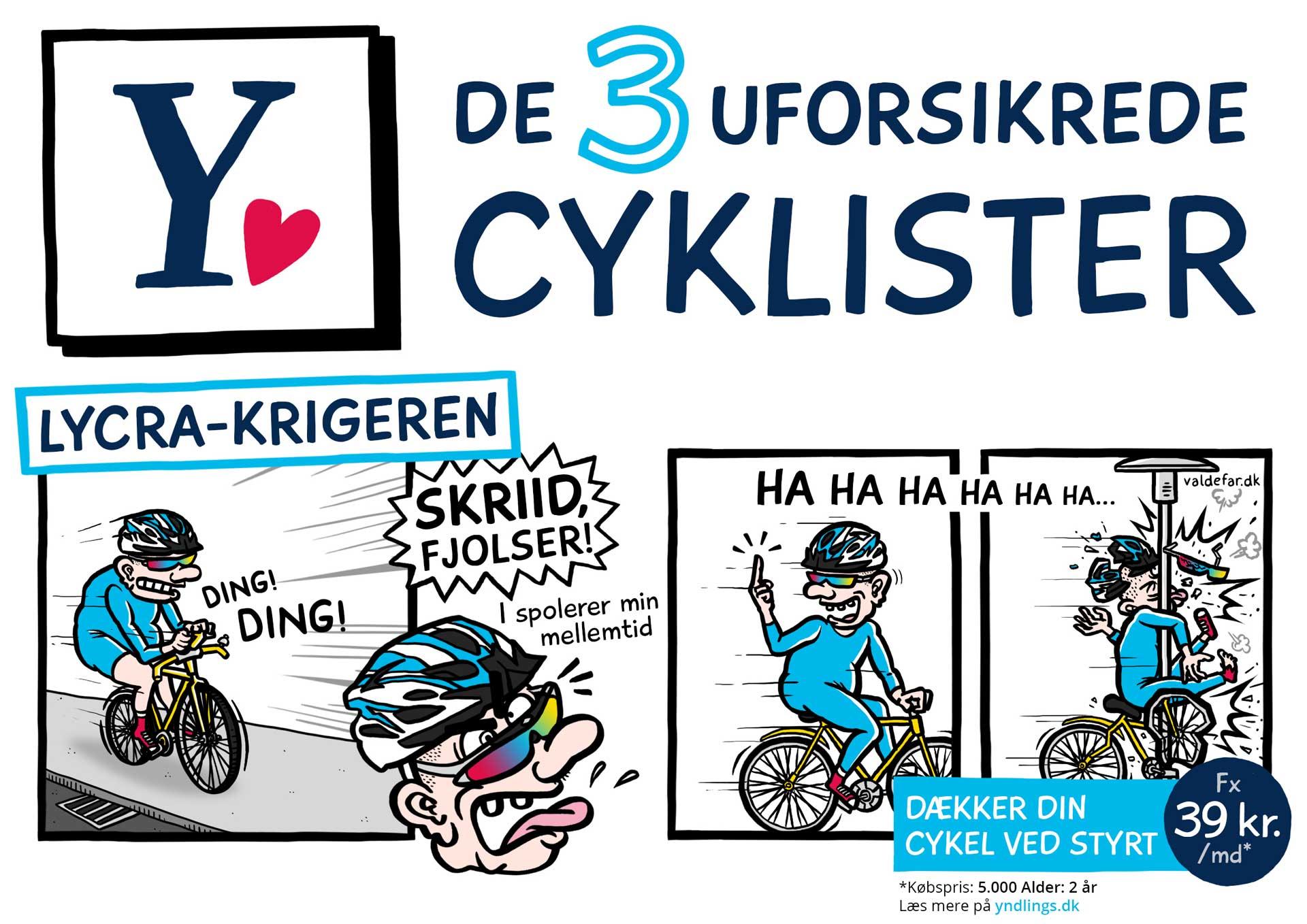 Tegneseriestriber for Alm Brand: De 3 uforsikrede cyklister / Lycra-krigeren