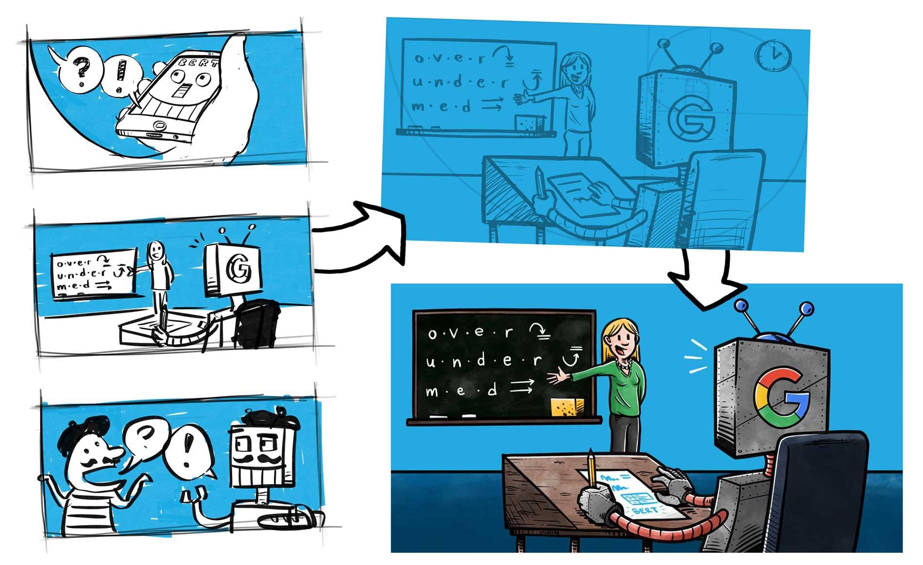 Blogillustrationer for Webamp.dk: Fra skitse til færdig illustration