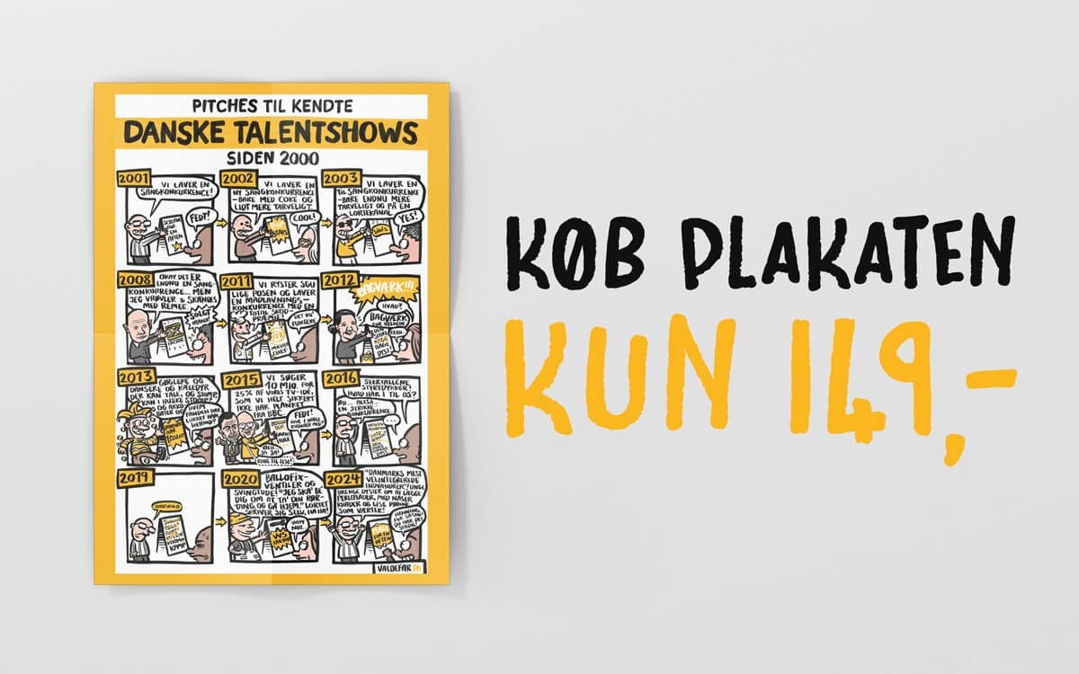 Plakater & prints – Pitches til kendte danske talentshows siden 2000