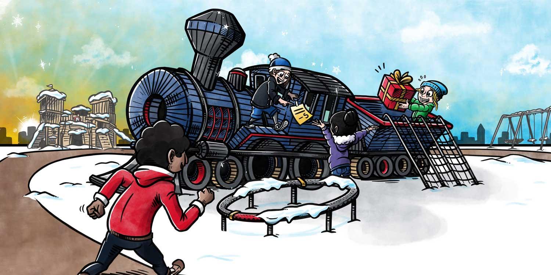 Bogillustration for Kompan: Tog med sne