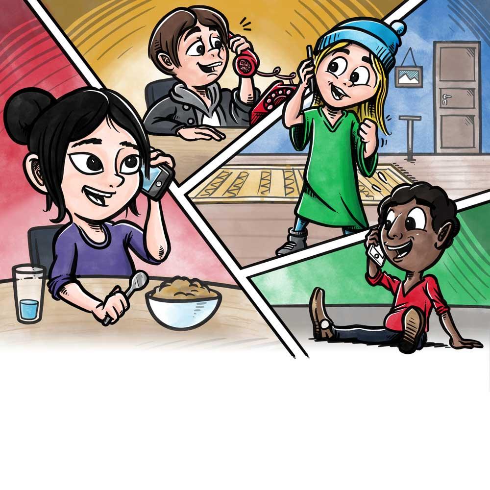 Bogillustration til kompan: Børn ringer rundt og laver legeaftale