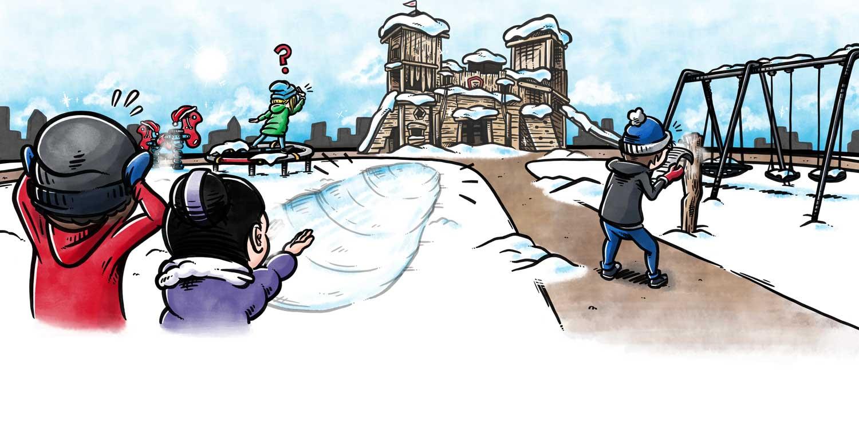 Bogillustration til Kompan: Børn leger på legeplads i sneen