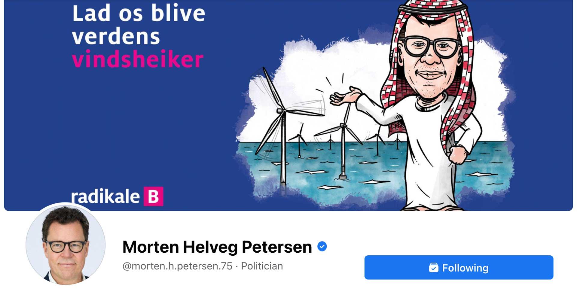 Radikales Morten Helveg benytter en af artikelillustrationerne som sit coverbillede på Facebook
