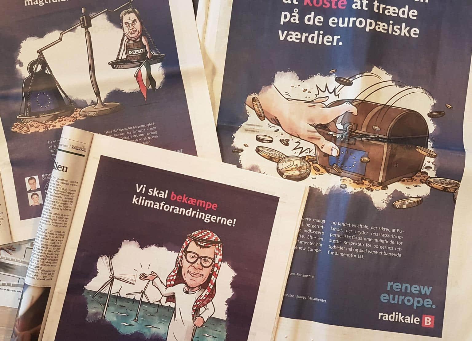 Udvalg af aviser med artikelillustrationer til Radikale Venstre af Valdefar.dk