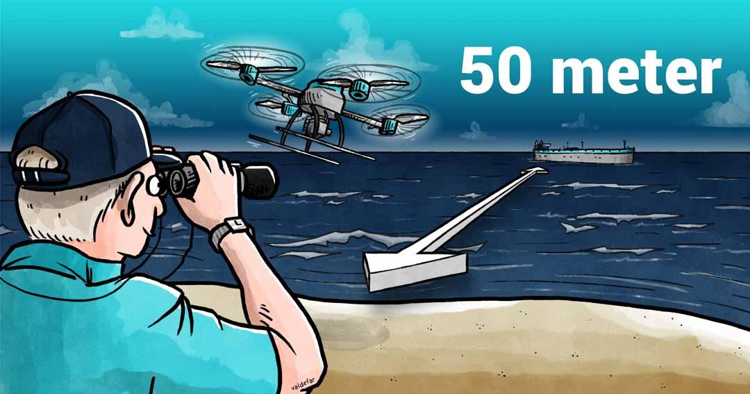 Teknisk illustration for Droner.dk: Skibe offshore