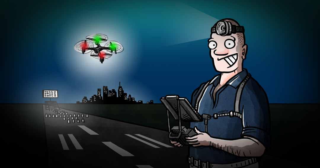 Teknisk illustration for Droner.dk: Flyvning om natten