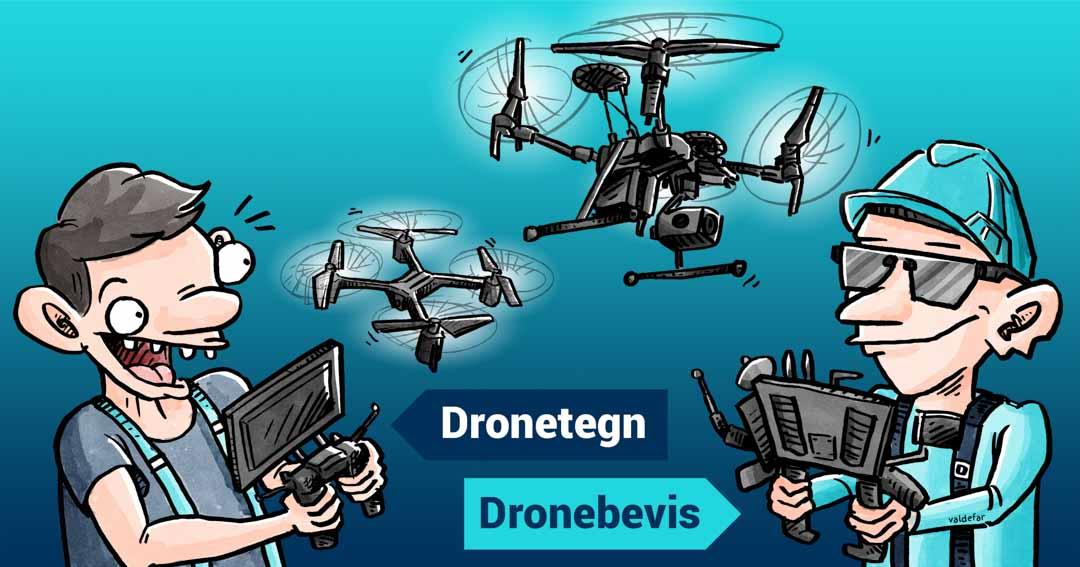 Teknisk illustration for Droner.dk: Forskel på dronetegn og dronebevis