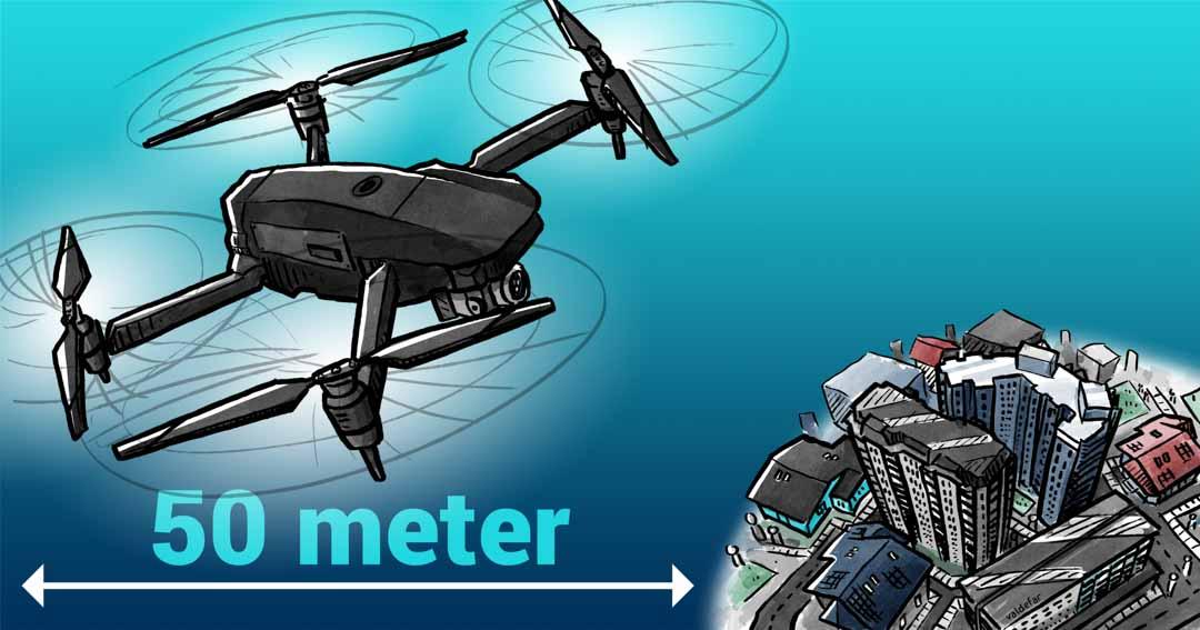 Teknisk illustration for Droner.dk: Bymæssigt område