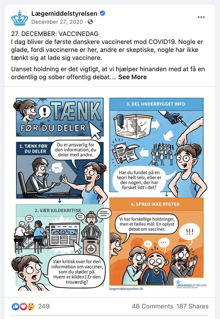 Stribe for Lægemiddelstyrelsen. Vacciner mod COVID-19: Tænk før du deler