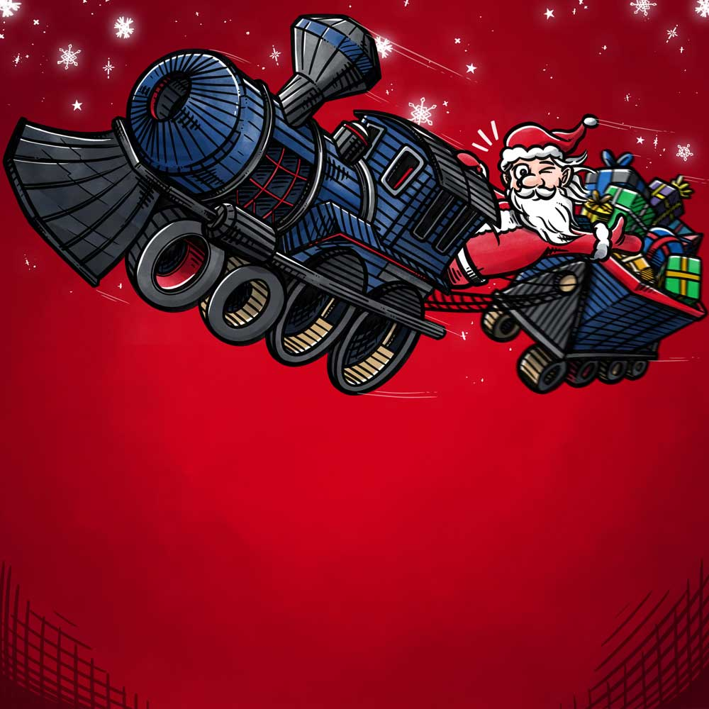 Bogillustration for Kompan: Bagside julemand i tog