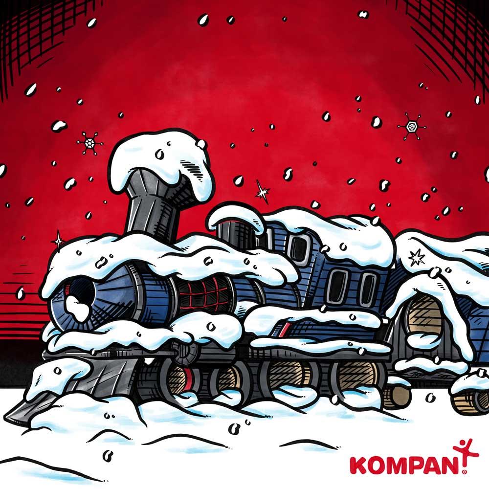 Bogillustration til kompan: Tog dækket af sne