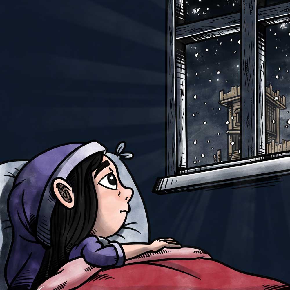 Bogillustration for Kompan: Pige drømmer om snevejr om natten