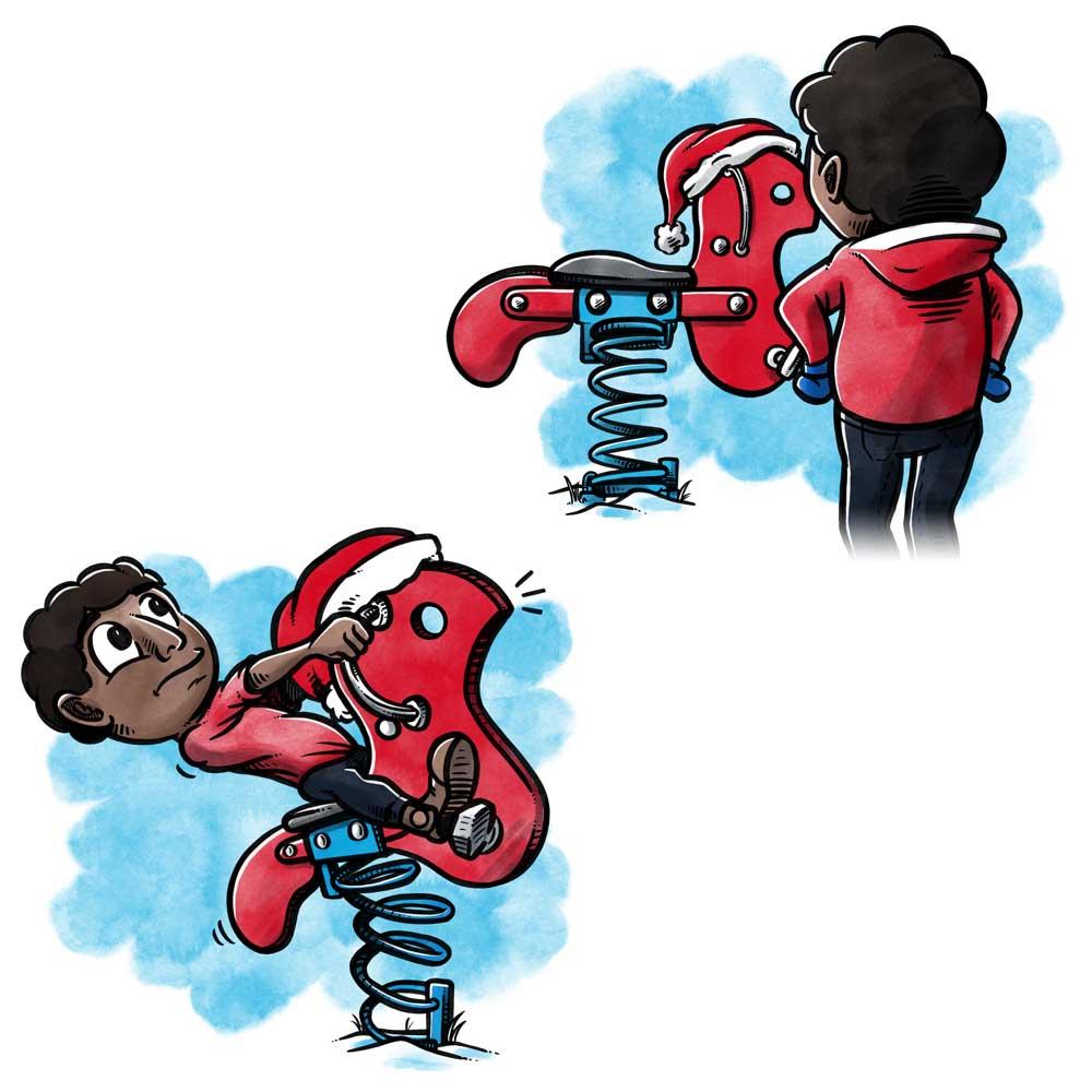 Bogillustration til Kompan: Dreng leger på gynge