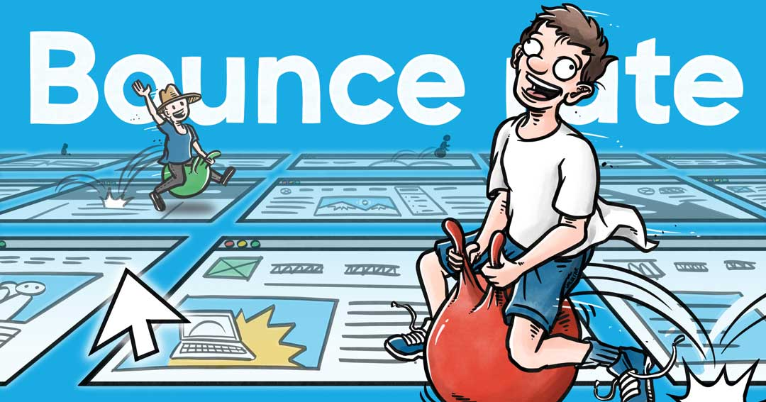 Blogillustrationer for Webamp.dk: Om bounce rate